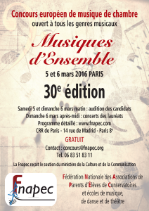 Affiche Auditions Musiques d'Ensemble